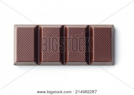 Dark chocolate bar isolated on white background. Top view.