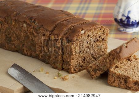 Typical Dutch spice bread with Succade, ginger, cinnamon, nutmeg and cloves made in the province of Friesland