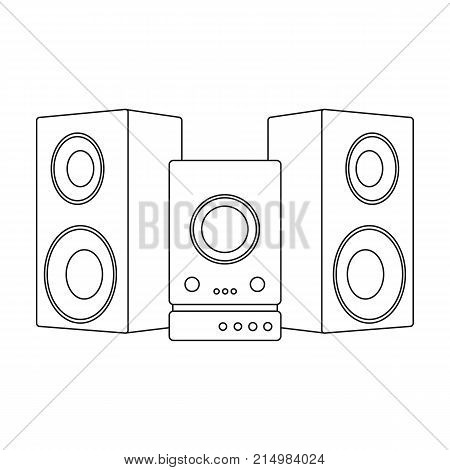 Musical, center, single icon in outline style. vector symbol stock illustration .