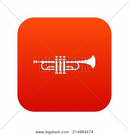 Brass trumpet icon digital red for any design isolated on white vector illustration