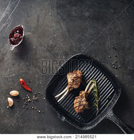 Grilled Food - Rack of Lamb Barbecue on Black Grilled Pan