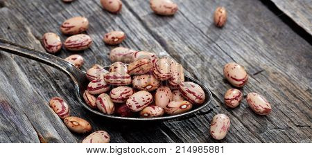 Raw pinto beans  on an old wooden table, copy space