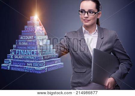 Businesswoman in ponzi scheme concept