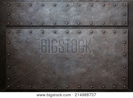 two metal panels with rivets metal background 3d illustration
