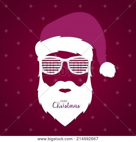 Santa Claus with glasses shutter shades on violet background. Christmas illustration.