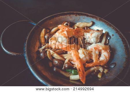 Shrimp teppanyaki japanese traditional hot plate food Kyoto Japan
