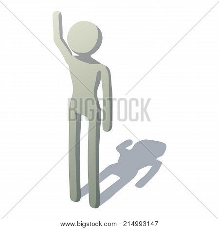 Stick man waving icon. Isometric illustration of stick man waving vector icon for web