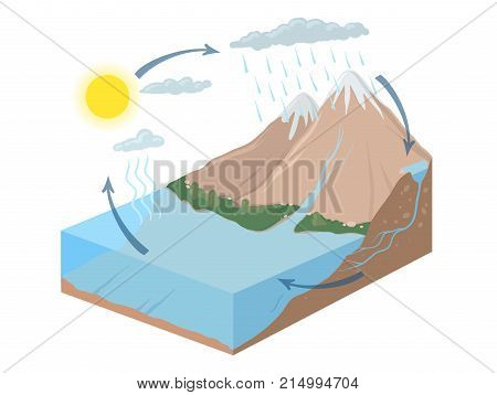 Vector schematic representation of the water cycle in nature, hydrological cycle. Isometric infographics Illustration. poster