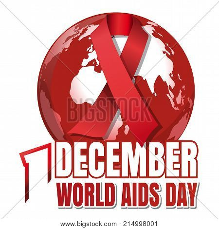 World Aids Day. 1 December. Red ribbon of AIDS awareness against the backdrop of the planet Earth. World Aids Day concept. Vector illustration