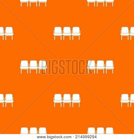 Chairs in the departure hall at airport pattern repeat seamless in orange color for any design. Vector geometric illustration