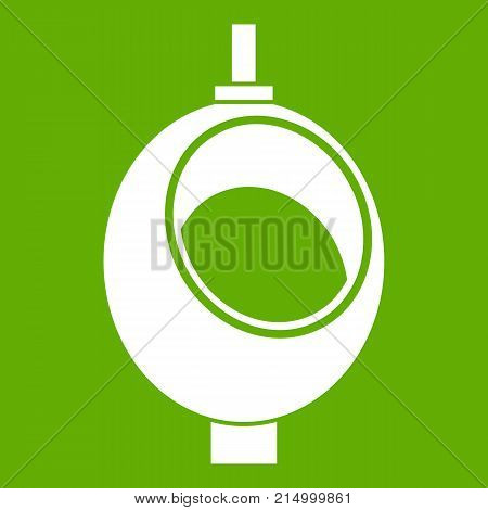 Urinal or chamber pot for men icon white isolated on green background. Vector illustration