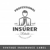Insurance label isolated on white background. Design element. Template for logo signage branding design. Vector illustration poster
