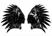 Native american indian warrior profile with feather headdress - black and white vector design poster