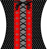 black lacing between red lace and black-white fabric with pattern poster