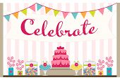 Party table display with cake, candy buffet and celebration banner and pennants poster