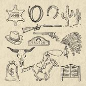 Monochrome hand drawn illustrations of different wild west symbols. Western pictures set isolate. Wild west vintage, cactus and sheriff star vector poster