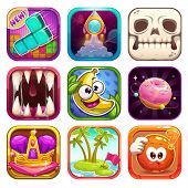 Funny cartoon app icons for game or web design. Vector GUI assets set on white background for mobile games design. poster