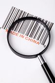 Made in China and barcode business concept poster