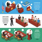 Three horizontal banners on law theme with court hearing courtroom and jury court isometric compositions vector illustration poster