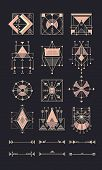 Vector set of sacred geometry. Geometric icons, shapes, logos, border and divider. Collection of symbols ethnic, religion, alchemy, philosophy, spiritual, Indian Decorative elements Isolated signs poster