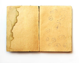 Vintage notebook with childish drawings