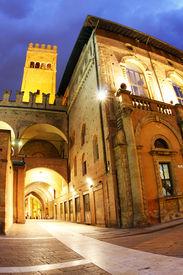 Palazzo del Podesta at night in the centre of Bologna.
