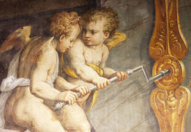Old fresco with couple of angels from Palazzo Vecchio in Florence