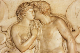 Young couple from The Bargello, also known as the Bargello Palace, Florence, Italy