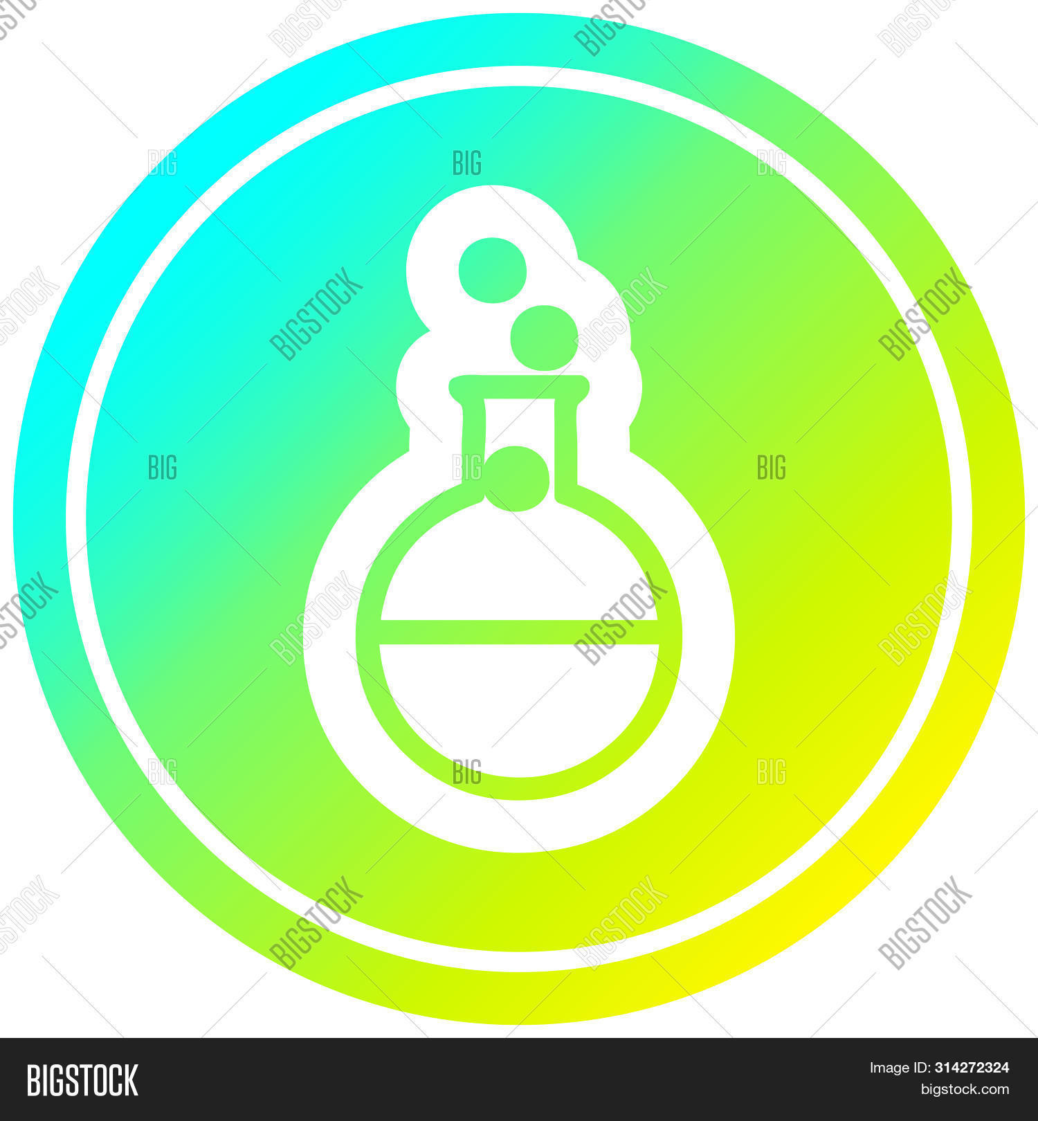 science experiment circular icon with cool gradient finish