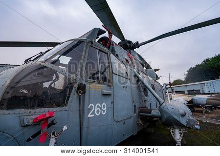 Doncaster, Uk - 28th July 2019: Close Up Of The Famous Westland Ws-61 Sea King Commando Helicopter A