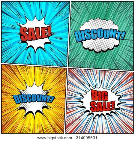 Comic Sale And Discount Backgrounds Set With White Speech Bubbles Red And Blue Wordings Dotted Slant