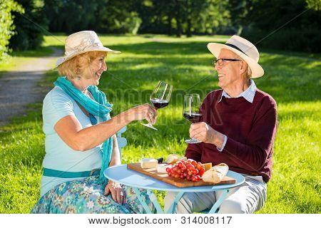 Senior Couple In Love Picnicking In The Park.