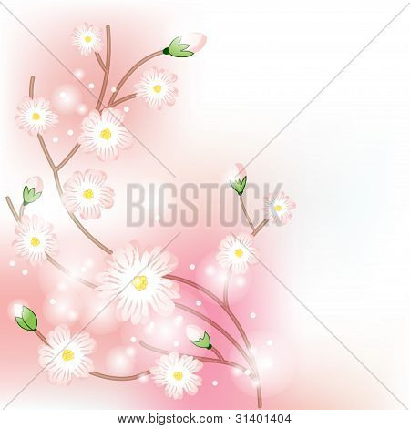 Colorful background with tree blossoming brunch