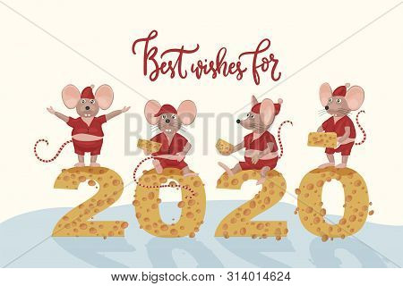 Christmas Vector Mouse Postcard. Cartoon Illustration. 2020 New Year Card With Cute Rats And Cheese.