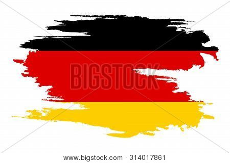 German Flag. Brush Painted German Flag. Hand Drawn Style Illustration With A Grunge Effect And Water