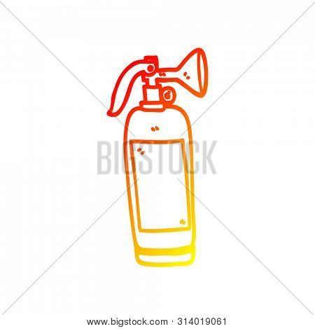warm gradient line drawing of a cartoon fire extinguisher