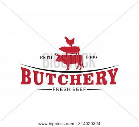 Butcher Meat Shop Product Logo With Cow, Pig, Hen Silhouette