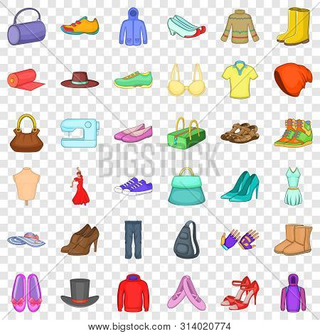 Vogue Icons Set. Cartoon Style Of 36 Vogue Vector Icons For Web For Any Design