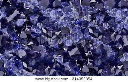 macro photo of blue sapphires druse