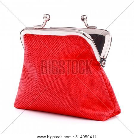red cash wallet isolated on white background. Charge purse. Open empty coin wallet.