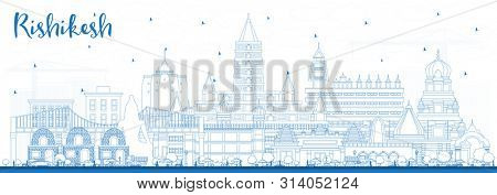 Outline Rishikesh India City Skyline with Blue Buildings. Business Travel and Tourism Concept with Historic Architecture. Rishikesh Cityscape with Landmarks.
