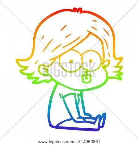 rainbow gradient line drawing of a cartoon girl pouting poster