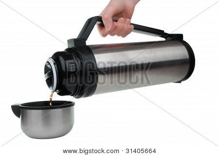 Pouring Tea From Thermos