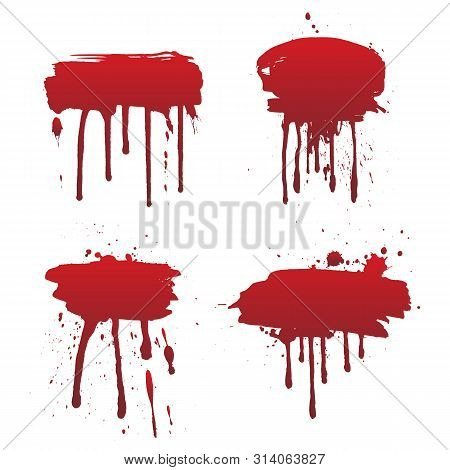 Dripping Blood Or Red Paint Set Isolated On White Background. Halloween Concept, Ink Splatter Illust
