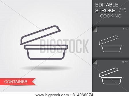 Food Container. Line Icon With Editable Stroke With Shadow