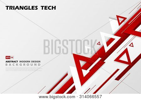 Abstract Gradient Red Triangles Tech Overlap Design Of Futuristic Pattern Style. Illustration Vector