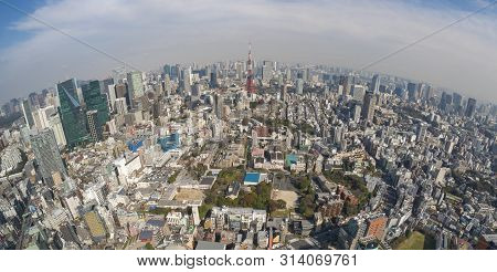 Tokyo, Japan - Mar 26, 2019: View Of Downtown Area Of Tokyo City Near The Tokyo Tower, The Most Icon