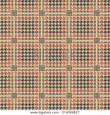 Glen Plaid Pattern. Houndstooth Royal Seamless Pattern, Vector Man Suit Tweed Or Wool Background