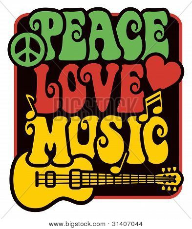 Peace-Love-Music in Rasta Colors