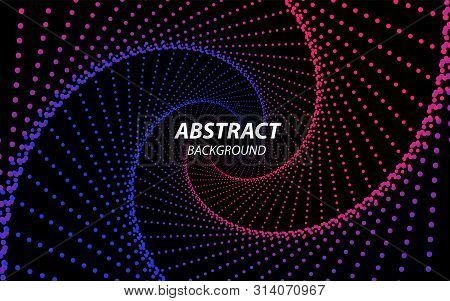 Technology Fractal With Wave Lines And Dots. Futuristic Style. Big Data Stream Visualization. Abstra